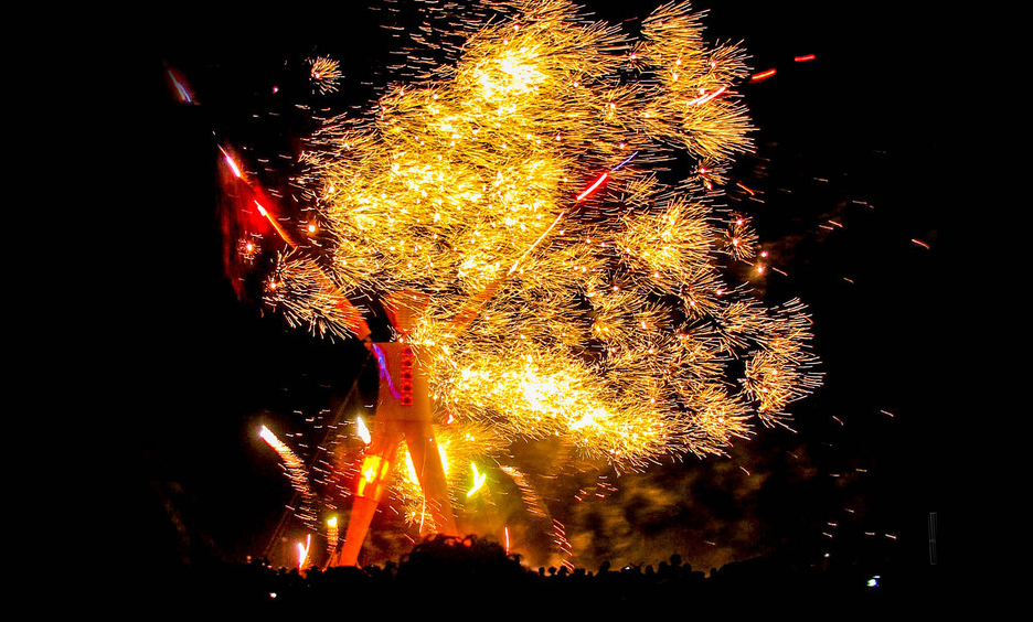 Fireworks around Burning Man by Barry Stanley